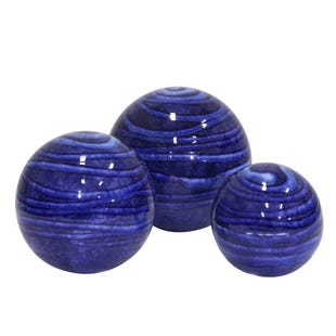 Blue 3 Piece Ceramic Orb Set S/M/L