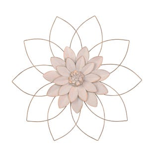 Gold Metal Wall Flower 25""