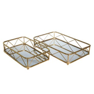 Gold 2 Piece Metal Tray Set M/L