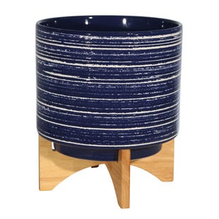 Blue Ceramic Planter - 10""