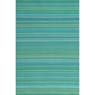 5x8 Reversible Outdoor Rug Blue Multi Stripe