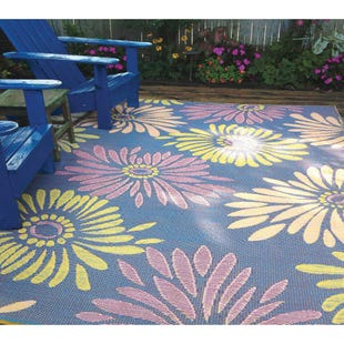 Daisy Violet Floral 5x8 Outdoor Rug