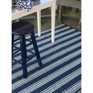 6x9 Reversible Outdoor Rug Vertical Blue White Stripe