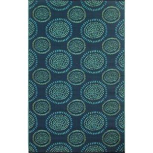 6x9 Reversible Outdoor Rug Aqua Multi Floral