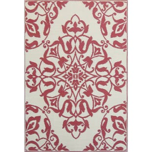 Wrought Iron Deep Red Floral 6x9 Outdoor Rug