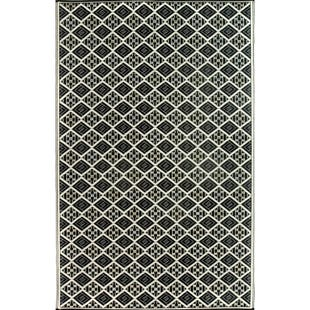 6x9 Reversible Outdoor Rug Black White Geo