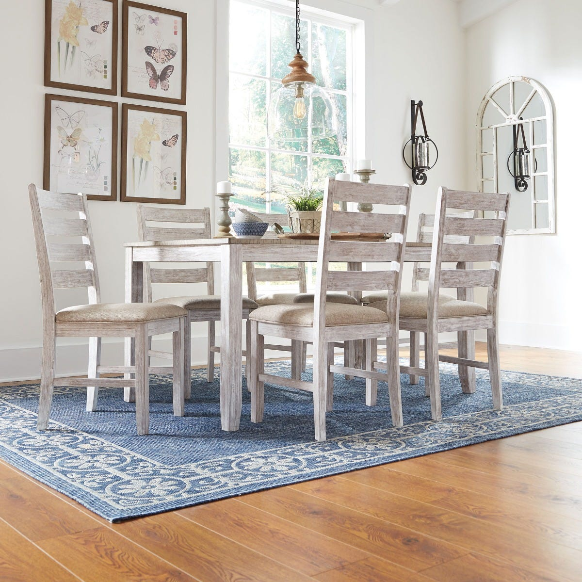 Rusty Antique White 7 Piece Dining Table Set