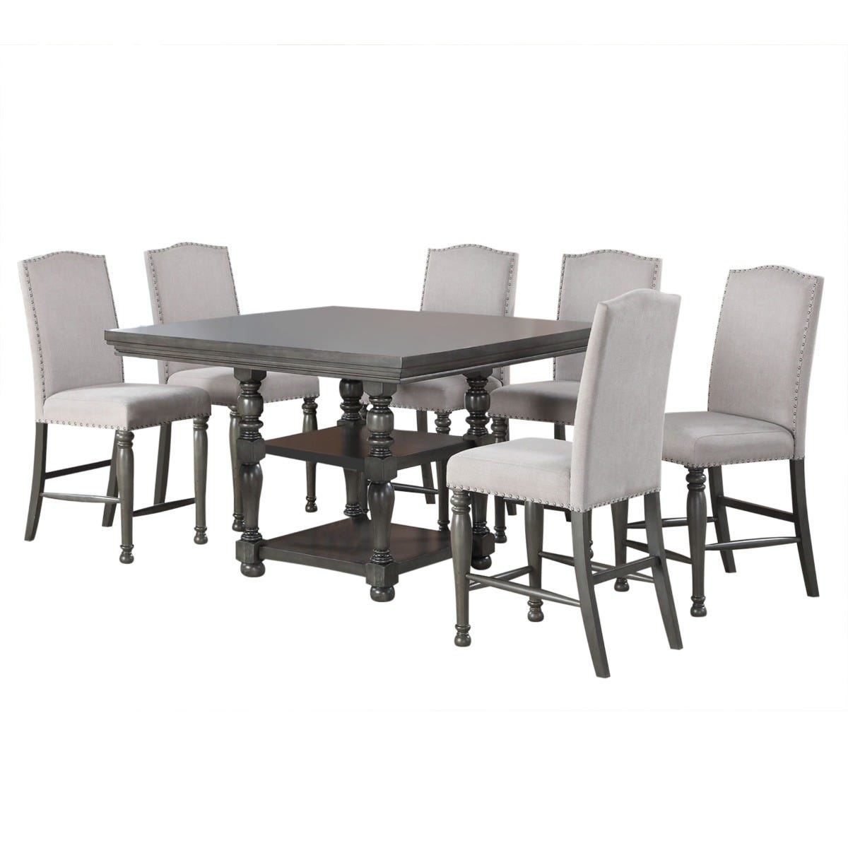 Caswell Gray 7 Piece Square Counter Height Dining Set