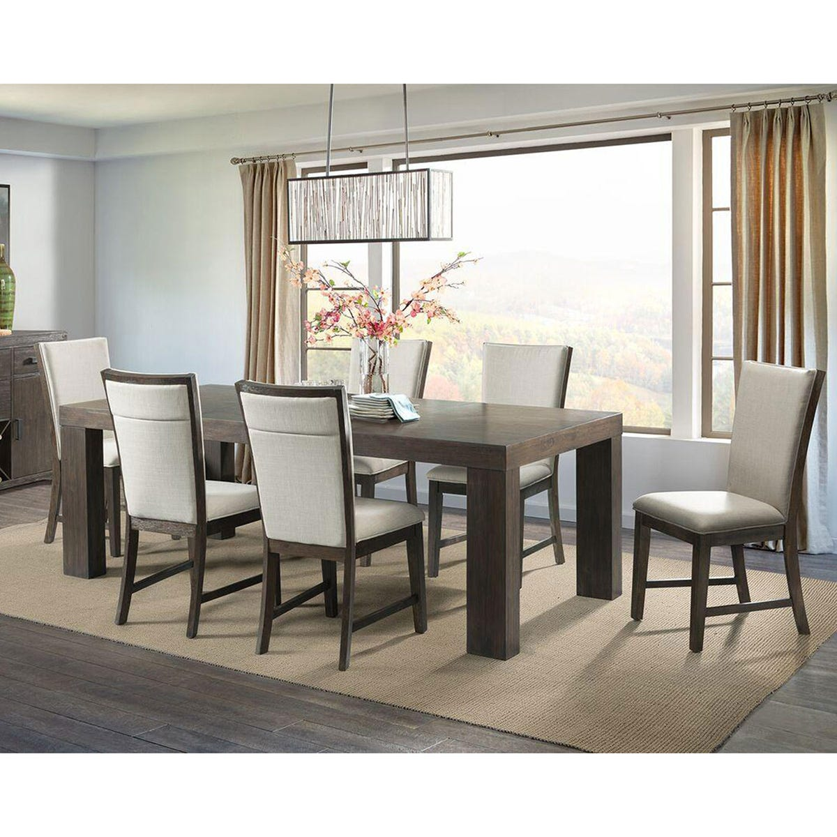 Rectangular Extendable 9 Piece Dining Set Wood Table and Wood Framed Chairs with White Cushioned Seats and Backing