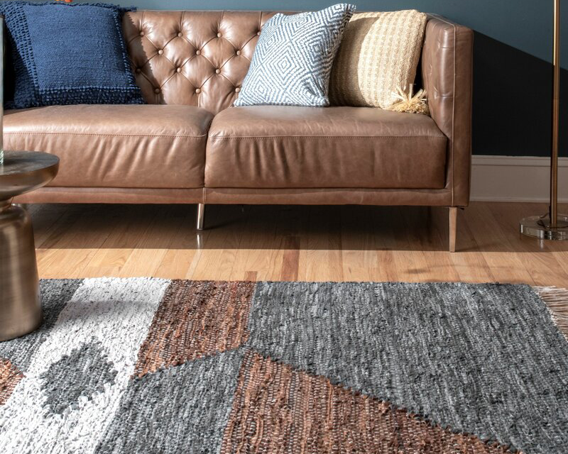 white grey and brown patterned cotton rug