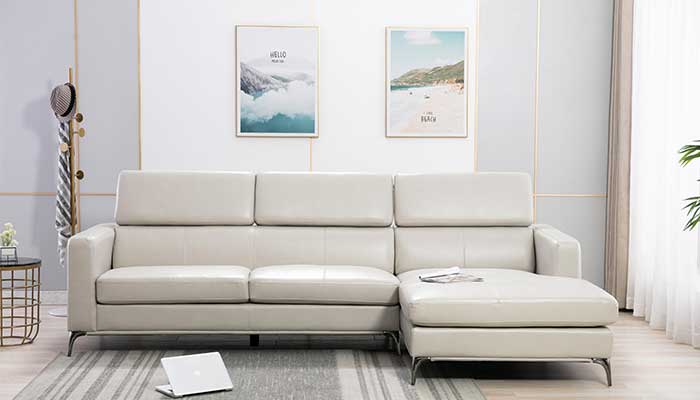 white faux leather 3 seated sectional