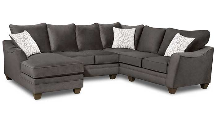 3 Piece Left Facing Grey Chaise Sectional with white accent pillows