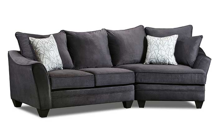 2 Piece Grey Cuddler with White Accent Pillows