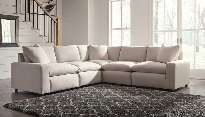 Microfiber white sectional