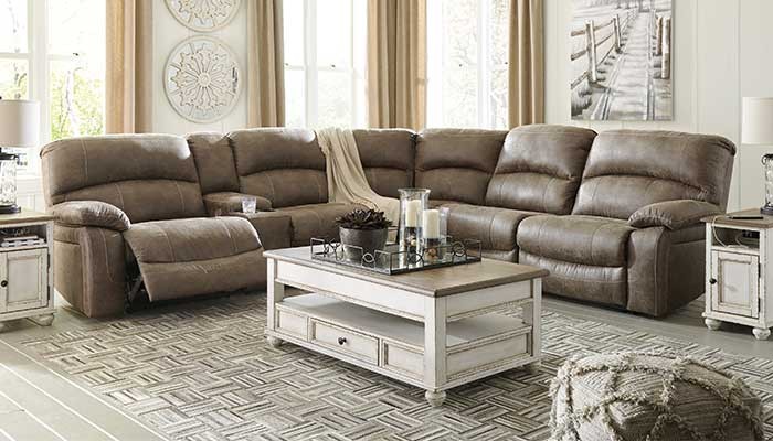 u shaped faux leather reclining sectional