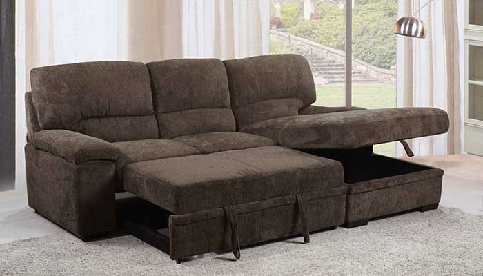 brown small space sectional with pullout foot rest