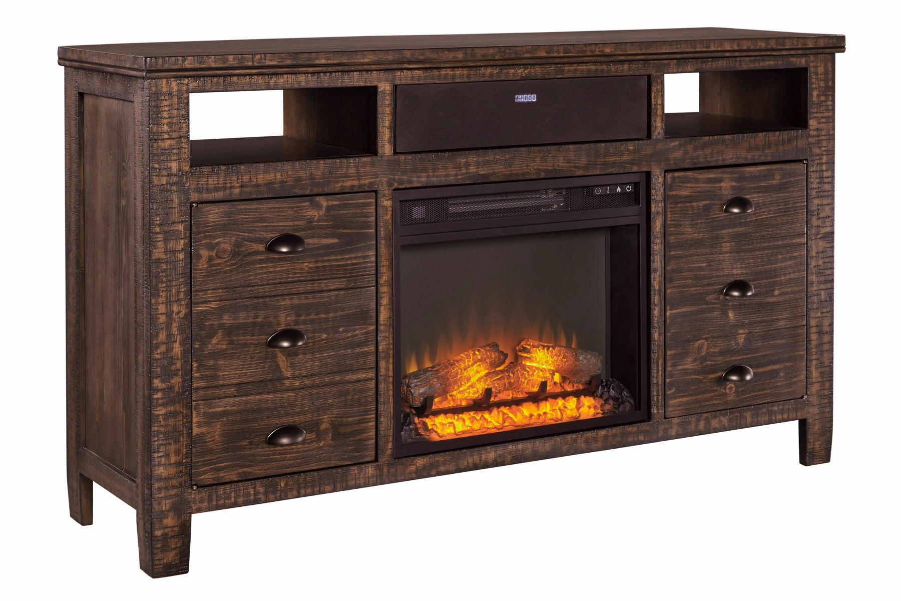 "Ashley Trudell 62"" TV Stand with Fireplace Insert"
