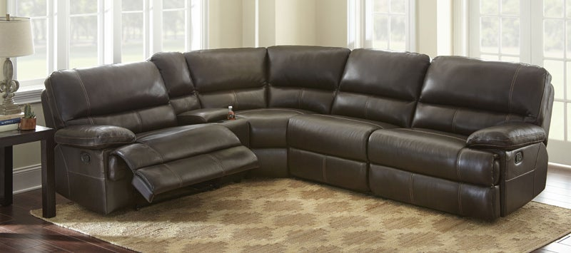 Rollins Chocolate Top Grain Leather Power Sectional | Weekends Only Furniture and Mattress