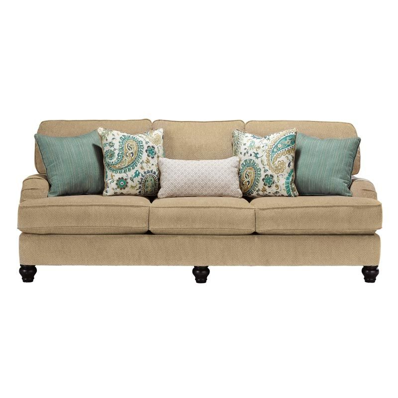 Ashley Lochian Beige Chenille Pocketed Coil Sofa | Weekends Only Furniture & Mattress
