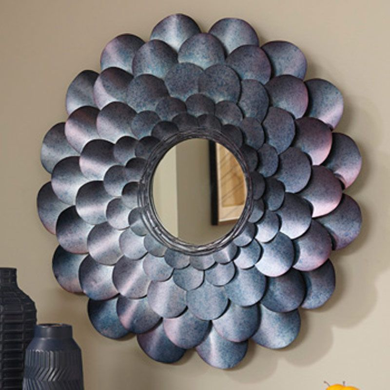 Ashley Blue Finished Flower Mirror | Weekends Only Furniture & Mattress