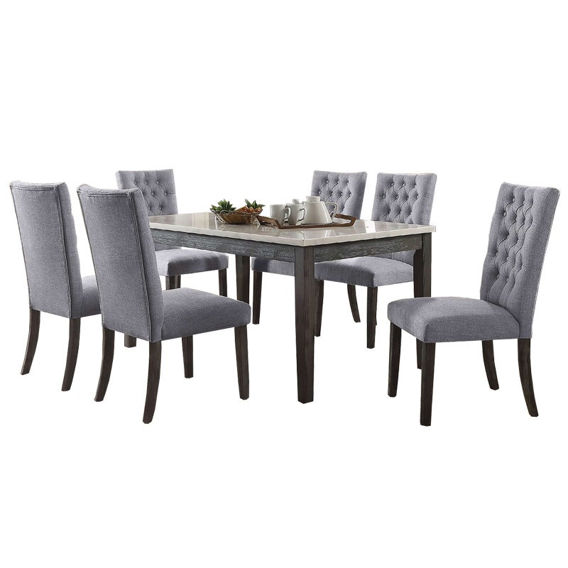 Tabello 7 Pc Gray/Marble Dining Set | Weekends Only Furniture & Mattress