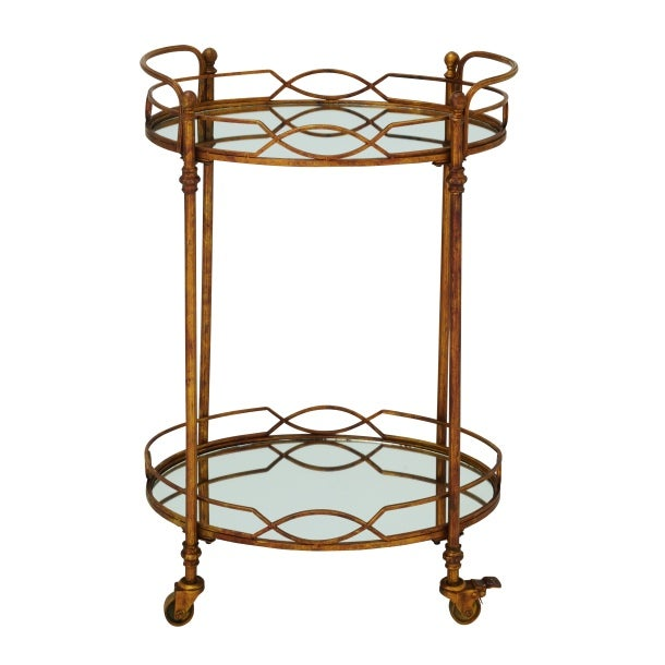 Aidy Bronze Metal Mirrored Rolling Bar Cart