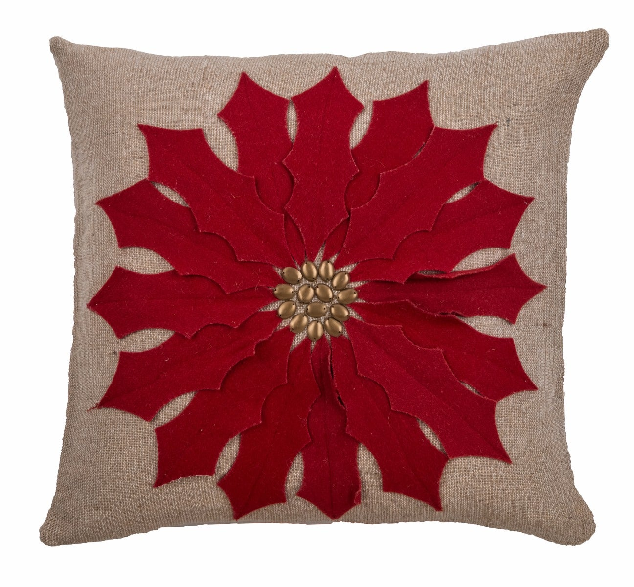 Poinsettia Red Pillow