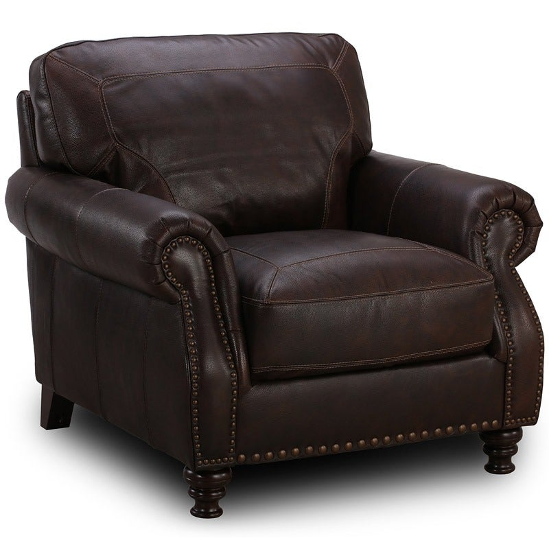 El Paso Coffee Leather Chair | Weekends Only Furniture and Mattress