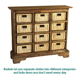 Storage cabinets with baskets allow you to hide and organize clutter.