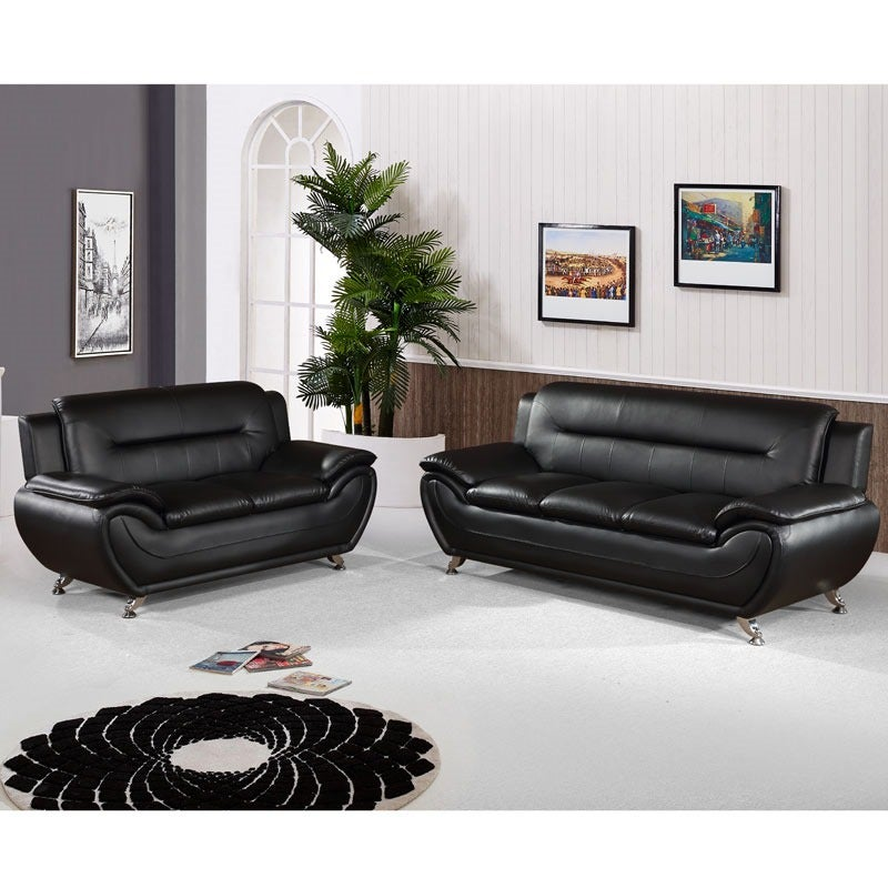 Empress Black Contemporary Sofa and Loveseat | Weekends Only Furniture and Mattress