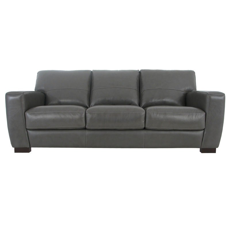 Avis Gray All Leather Sofa with Contrast Stitching | Weekends Only Furniture and Mattress