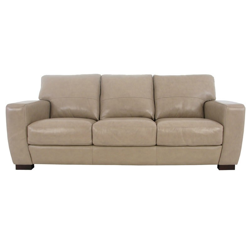 Avis Cream All Leather Sofa with Contrast Stitching | Weekends Only Furniture and Mattress