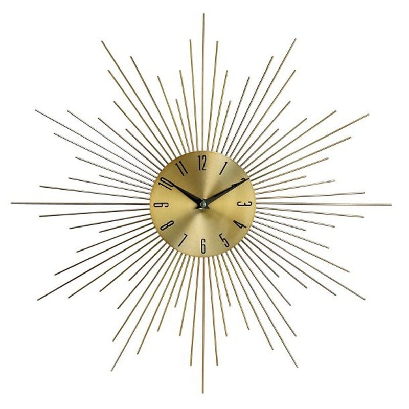 Gold Starburst Wall Clock | Weekends Only Furniture and Mattress