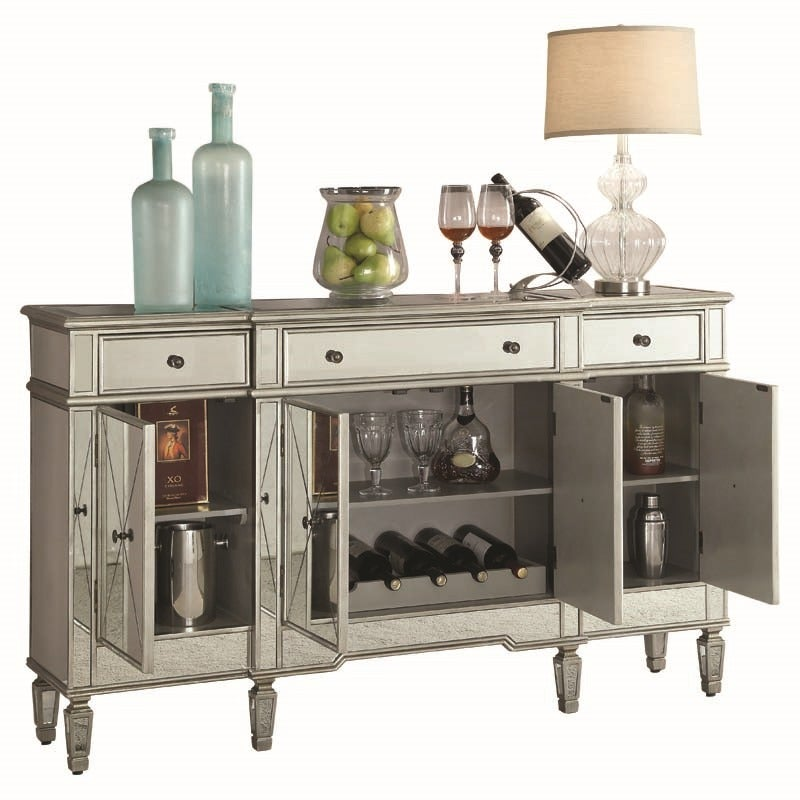 Bailey Mirrored Wine Cabinet with Bottle and Glass Storage | Weekends Only Furniture and Mattress