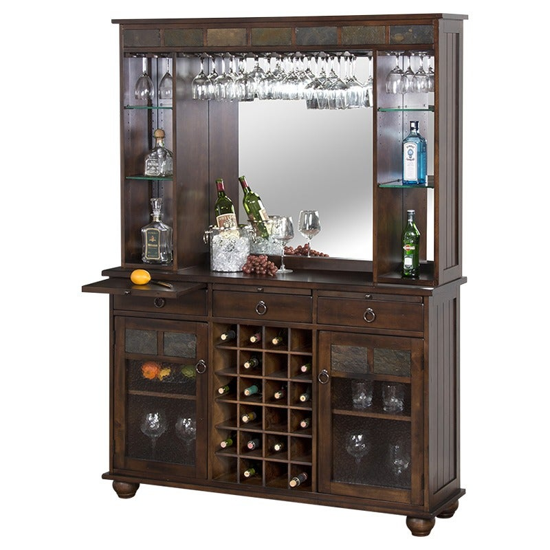 Rustic Bar Back and Hutch | Weekends Only Furniture and Mattress