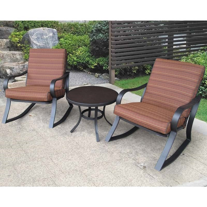 "Bayside Set of 2 Cushioned Rockers and 24"" Round Table 