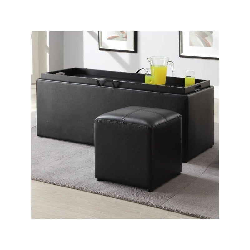 Blasey Storage Bench with Serving Tray and Seating Cubes