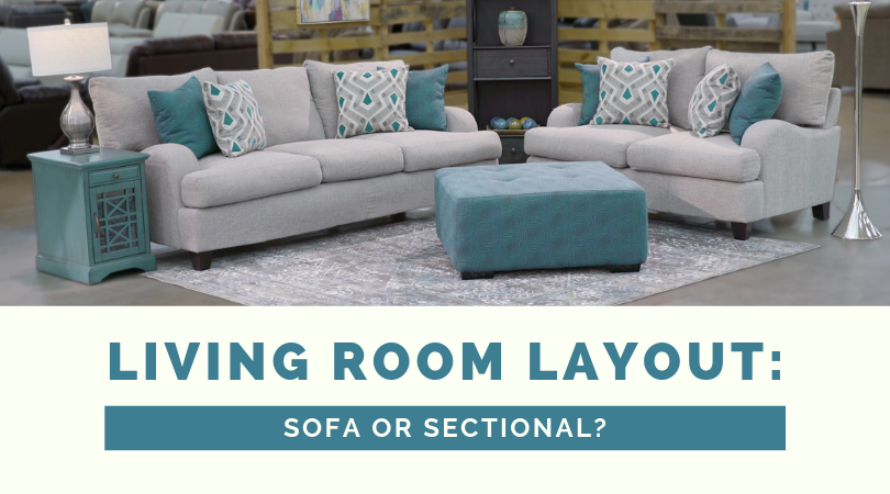 Living Room Layout: Sectional or Sofa? Gray Soft and Loveseat with blue accent pillows and ottoman