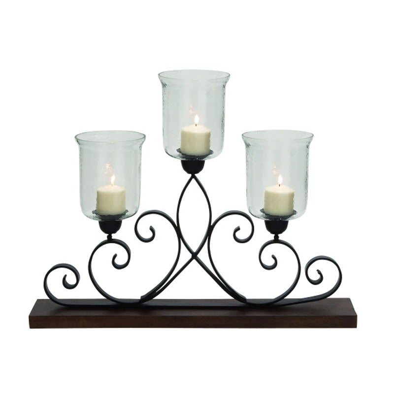 "UMA Metal Glass Candle Holder 32""W X 25""H 