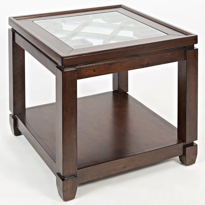 Casa Bella Cherry End Table with Mirrored Top | Weekends Only Furniture and Mattress