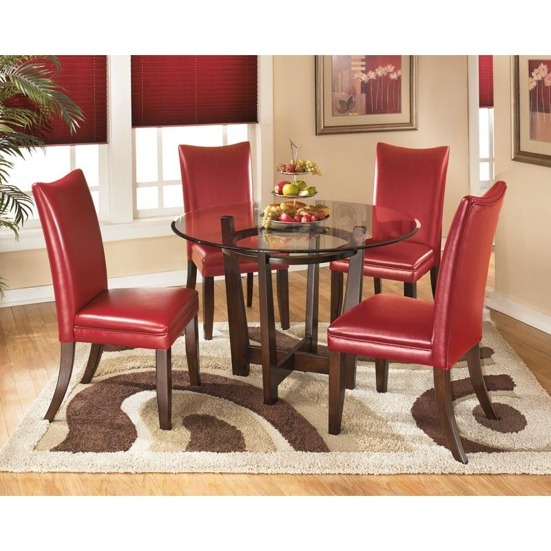 Ashley Charrell Red Faux Leather 5 Piece Dining Set