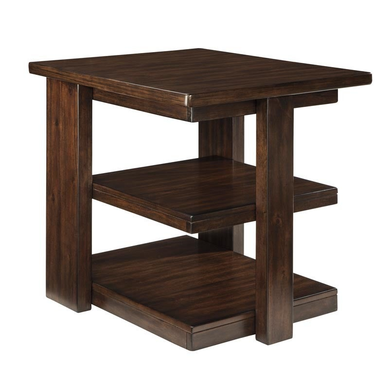 Brown Ashley Garletti End Table with Shelves