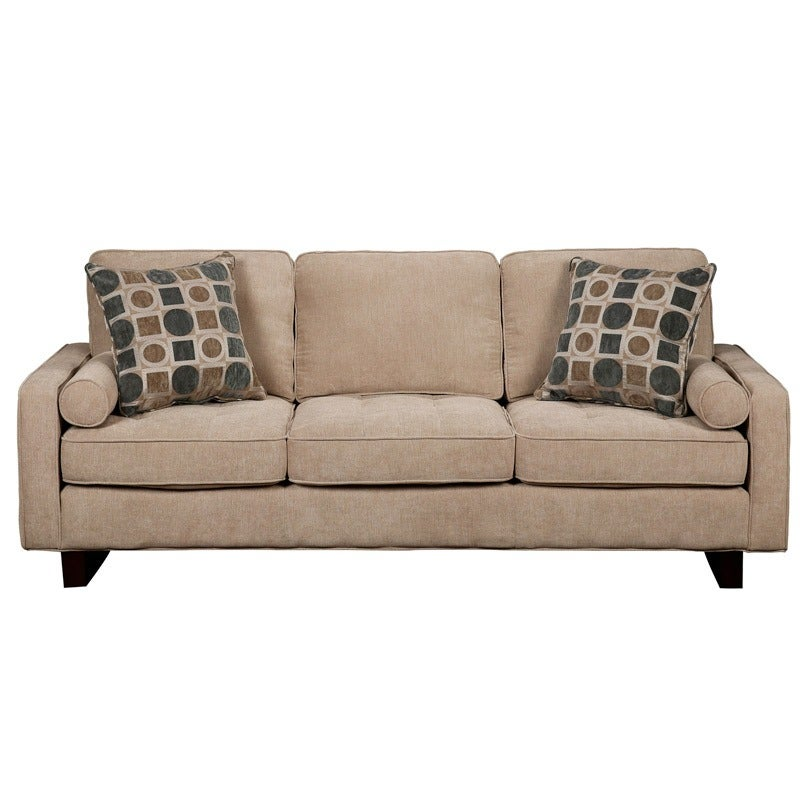Heather Beige Contemporary Track Arm Sofa