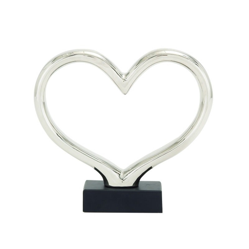 Silver Heart Sculpture | Weekends Only Furniture and Mattress