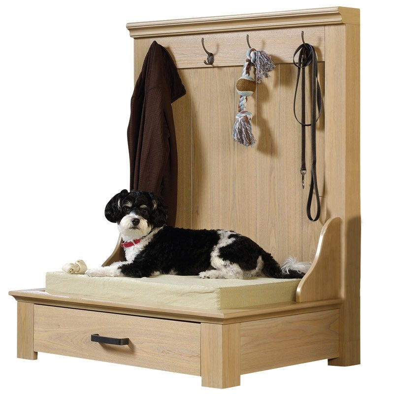 Juno Dog Bed With Leash Hooks, Cushion and Storage Drawer | Weekends Only Furniture and Mattress