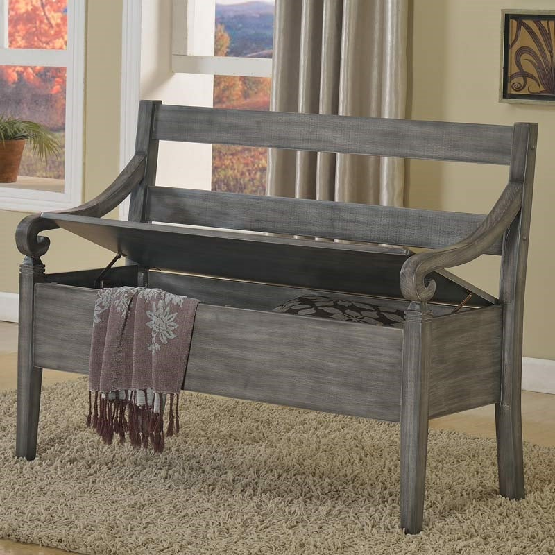Kennedy Rustic Weathered Gray Storage Bench | Weekends Only Furniture and Mattress