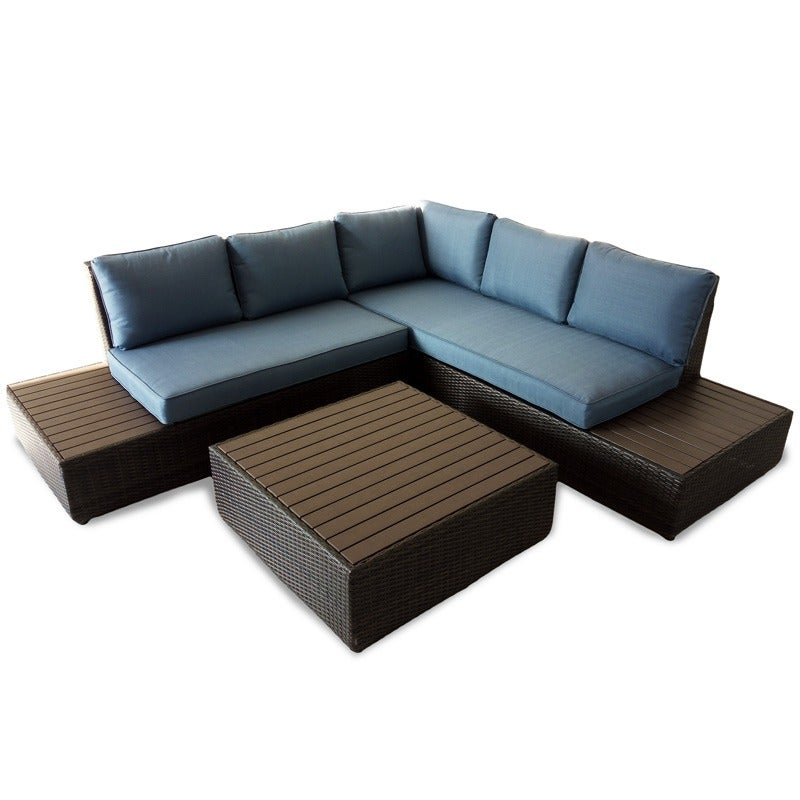 La Hoya 2 Piece Sectional With Denim Blue Cushions | Weekends Only Furniture and Mattress