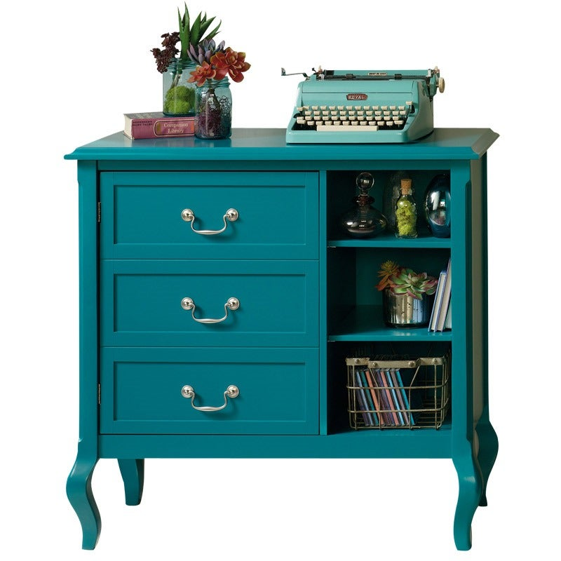 Lilly Blue Accent Chest w/3 Cubbyholes, 2 Shelves, 3 Drawers