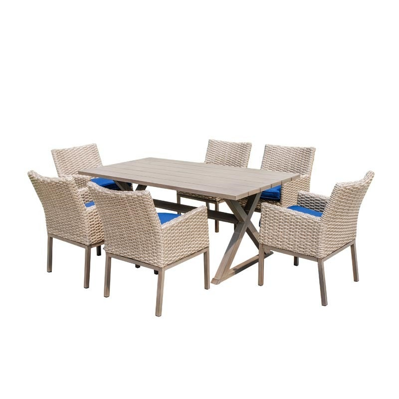 Maui Ivory and Cobalt Blue Wicker 7 Piece Outdoor Dining Set | Weekends Only Furniture and Mattress