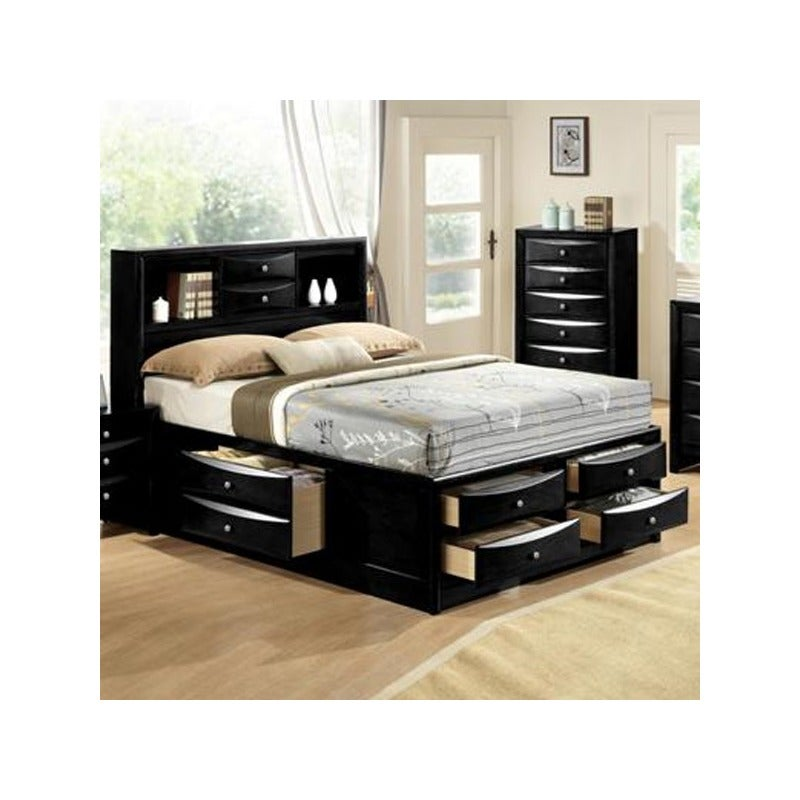 Mega Storage Black Queen Bed with Drawers Under the Mattress